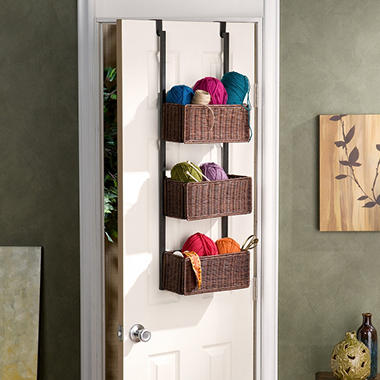Craft Room Over Door 3 Basket Rack