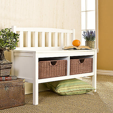 White Window Bench with Rattan Baskets