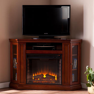 Windsor Electric Fireplace Media Console   Mahogany