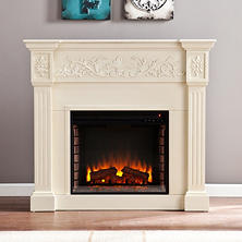 Del Ray Electric Fireplace - Ivory