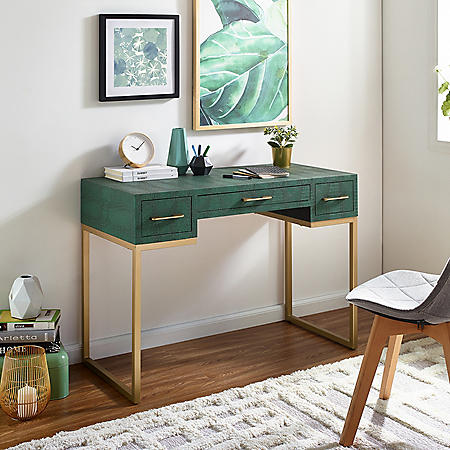 Carabelle Emerald and Gold Writing Desk with Drawers