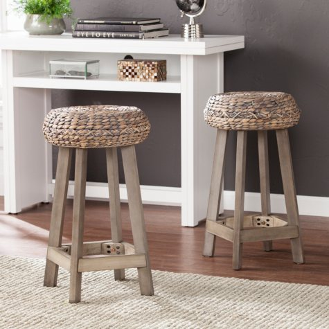 "Katherine Backless Round Water Hyacinth 24"" Stools, 2-Piece Set"