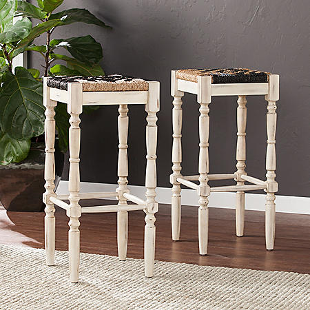 """Winchester Square Backless Seagrass 24"""" Stools, 2-Piece Set"""