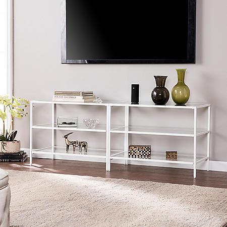 "Jillian Metal/Glass 60"" TV Stand, White"
