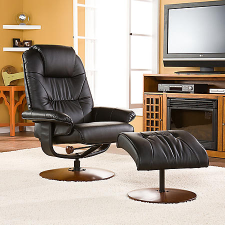 Brandi Leather Recliner and Ottoman (Assorted Colors)