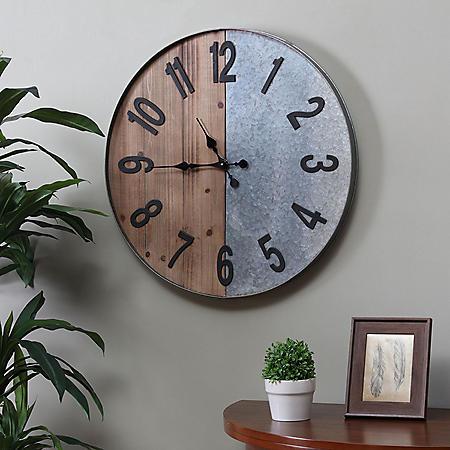 Jasper Industrial Wall Clock, Raw Wood and Galvanized Metal