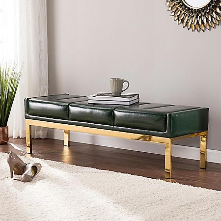 Brandi Upholstered Bench Dark Green with Brushed Brass