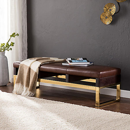 Brandi Upholstered Bench Warm Russet with Espresso and Brass