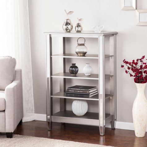 Draci Mirrored 4-Tier Bookcase, Brushed Matte Silver with Mirrored Surface