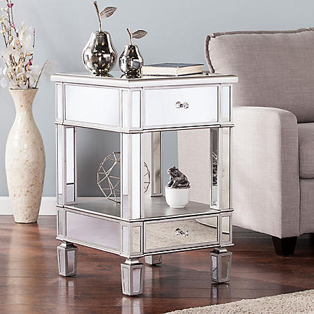 Draci Mirrored Side Table  Brushed Matte Silver with Mirrored Surface