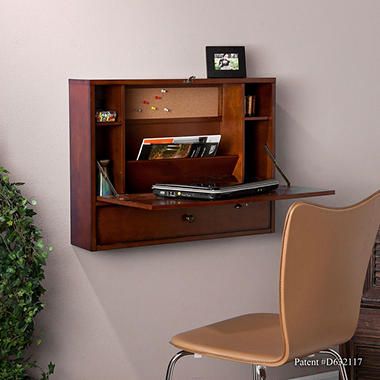 Leighanne Wall Mount Desk, Mahogany