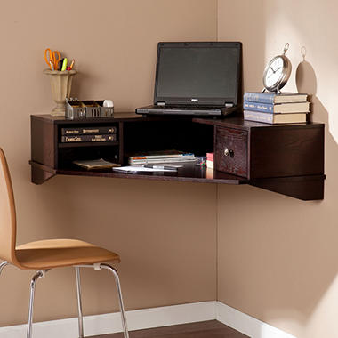 Riley Corner Wall Mount Desk, Espresso