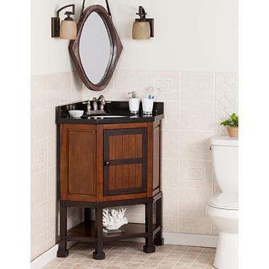 Southern Enterprises Brock Corner Vanity Sink w/ Granite Top