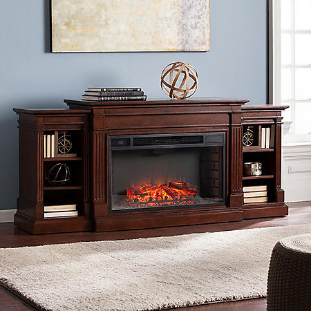 Orian Widescreen Electric Fireplace with Bookcases, Espresso