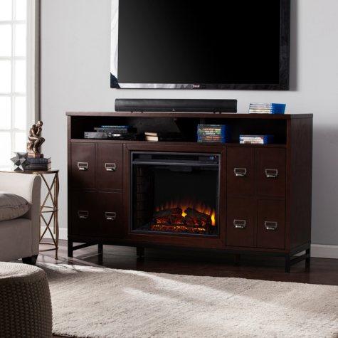Benedict Electric Fireplace Media Console, Espresso