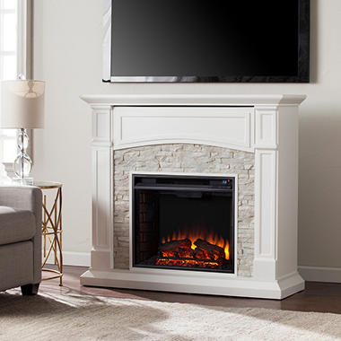 Florencia Electric Fireplace Media Console, White