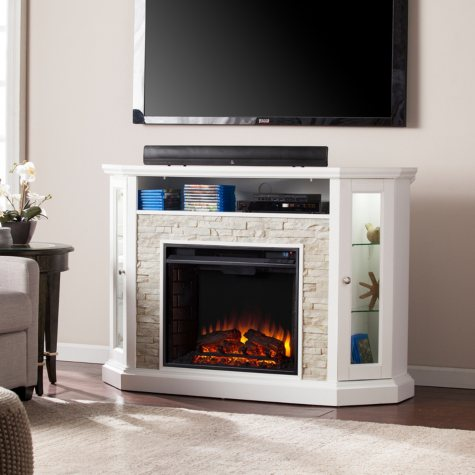 Lynsdale Corner Convertible Electric Media Fireplace, White