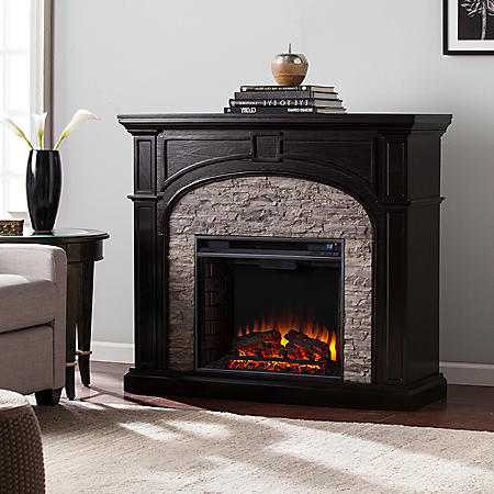 Electric Fireplace with Faux Stone, Assorted Colors