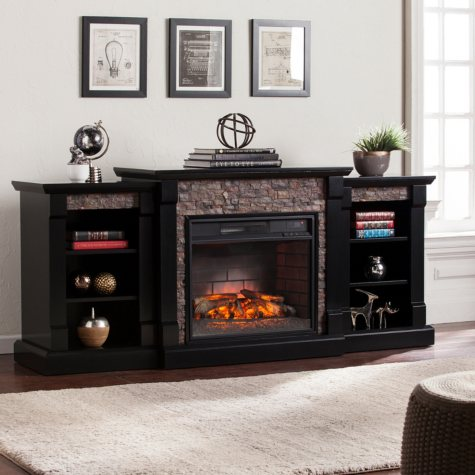 Charleston Infrared Electric Fireplace with Bookcases