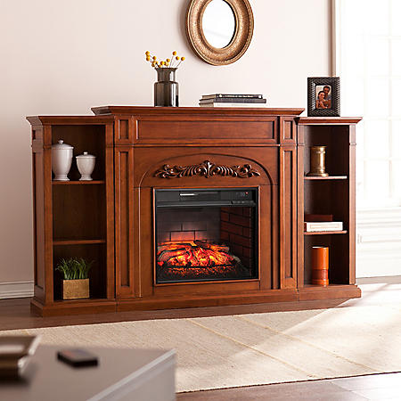 Gwynne Infrared Electric Fireplace with Bookcases, Autumn Oak