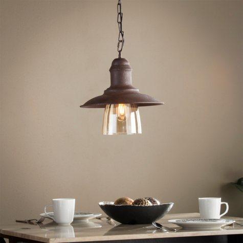 Virgo Metal and Glass Bell Pendant Light