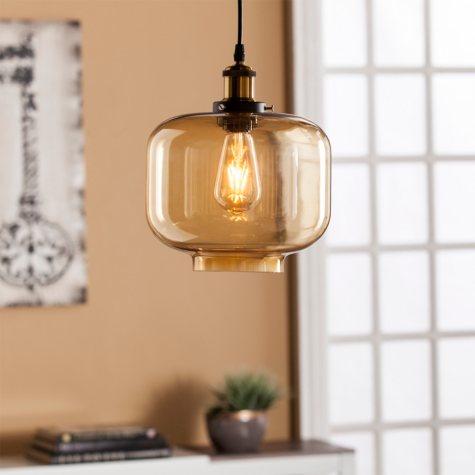 Sadie Colored Glass Pendant Lamp- Amber