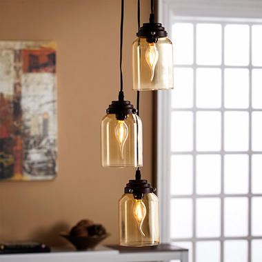 Vera Glass Triple Pendant Lamp-Amber