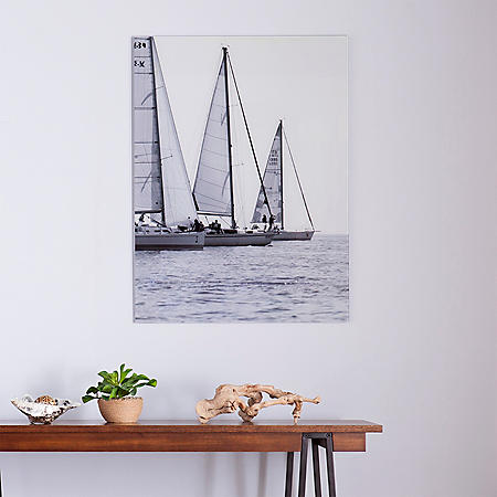 Sail Away Floating Glass Wall Art