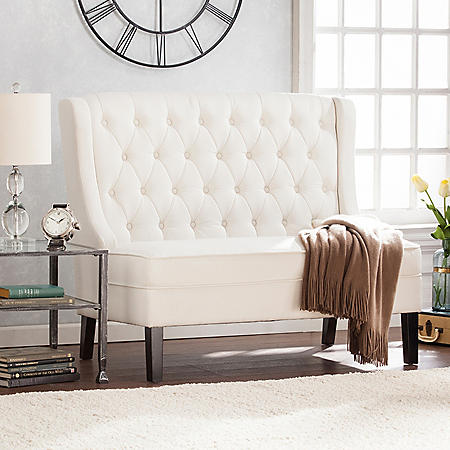 Adelleyn High-Back Tufted Settee, Ivory