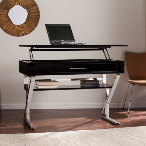 Lafaye Adjustable Sit-to-Stand Desk, Black