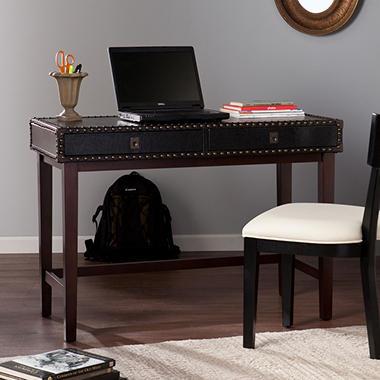 Rydona Faux Leather Writing Desk Black Espresso