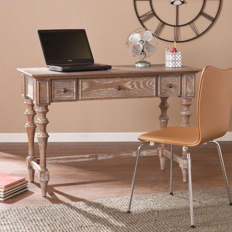 Laxmi Turned-Leg Desk, White Cerused Burnt Oak