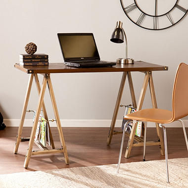 Daxli Sawhorse Desk, Antique Bronze/Oak
