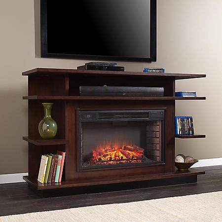 Sacramento Media Console Fireplace - Espresso/Ebony Stain