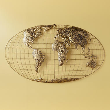 Beau Iron World Map Wall Art