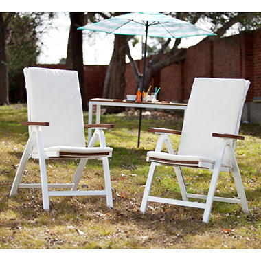 Nantucket Outdoor Position Chairs 2-Piece Soft White Finish