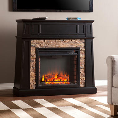 Elmwood Stone Electric Fireplace Media Console
