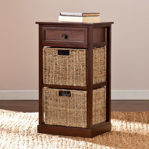 Barrett Storage Shelf with 2 Seagrass Baskets