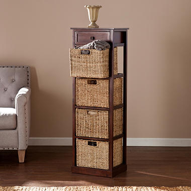 Barrett Storage Shelf with 4 Seagrass Baskets