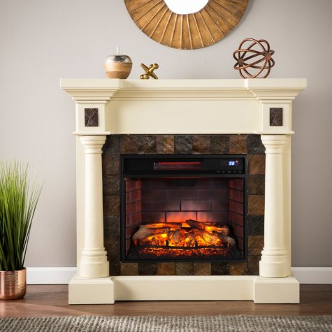 Mirage Infrared Fireplace, Ivory