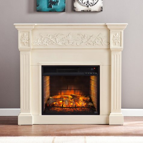 Del Ray Infrared Fireplace, Ivory