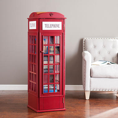 Red Telephone Booth Storage Cabinet