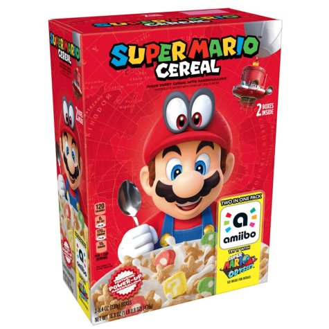 Super Mario Breakfast Cereal, Mixed Berry with Marshmallows (8.4 oz., 2 pk.)