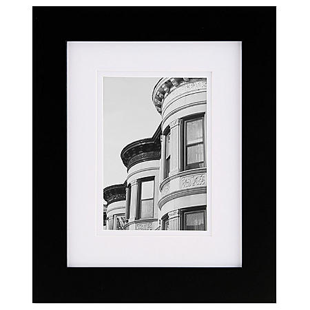 """Gallery Solutions 8"""" x 10"""" Black Frame with White Mat"""
