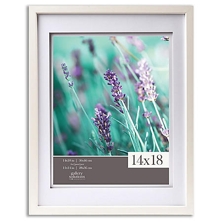 """Gallery Solutions 14"""" x 18"""" White Frame with White Airfloat Mat"""