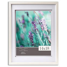 "Gallery Solutions 14"" x 18"" White Frame with White Airfloat Mat"