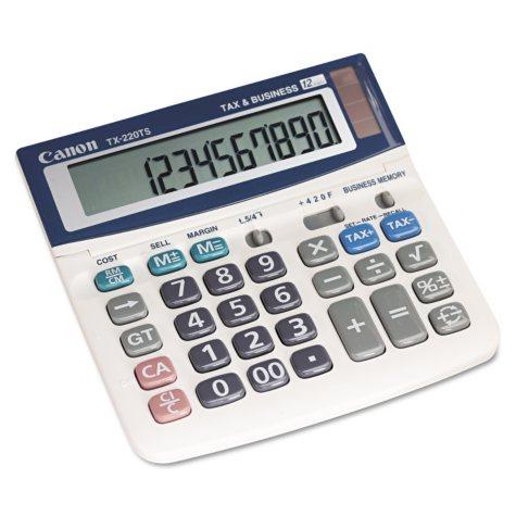 Canon TX220TS Mini Desktop Handheld Calculator, 12-Digit LCD