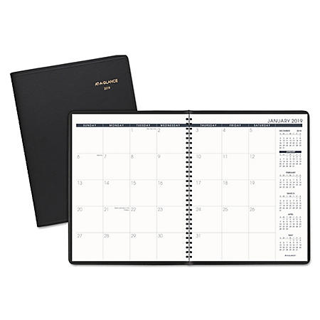 AT-A-GLANCE® Monthly Planner, 8 7/8 x 11, Black, 2019