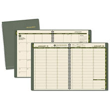 AT-A-GLANCE - Recycled Weekly/Monthly Classic Appointment Book, 8 1/4 x 10 7/8, Green -  2016