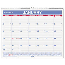 AT-A-GLANCE - Monthly Wall Calendar, 15 x 12, Red/Blue -  2016